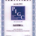 certyfikat PIGC-2013
